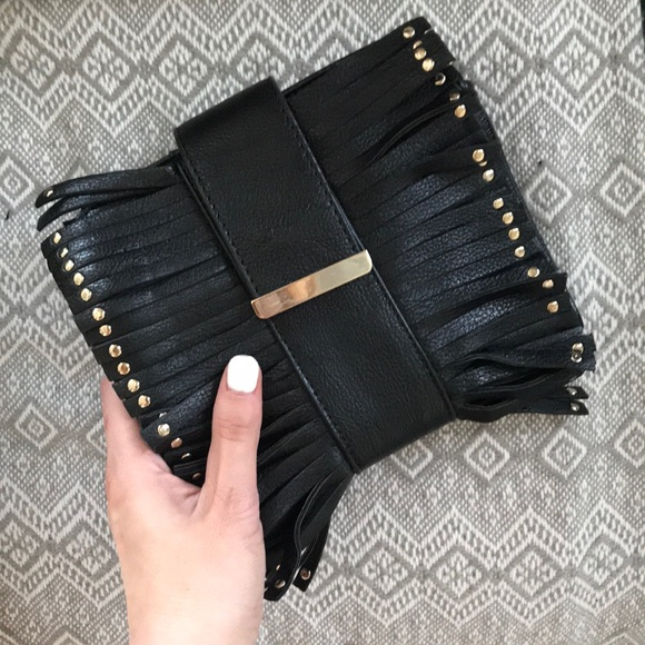 Handbags - Black and silver fringe clutch
